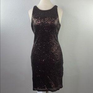 Christina Wu brown sequin dress, size 10